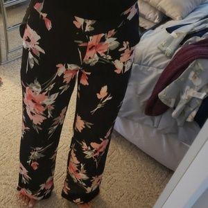 Black floral wide leg pants for Black & white